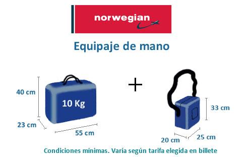 equipaje de mano norwegian peso