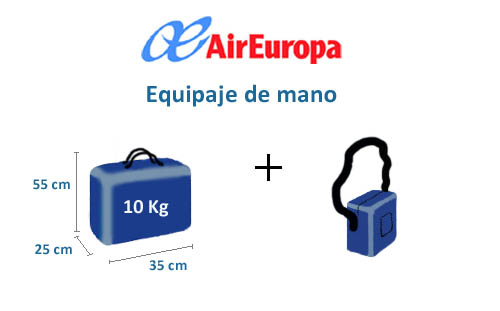 equipaje de mano avion air europa