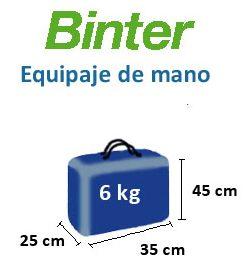 peso equipaje de mano binter